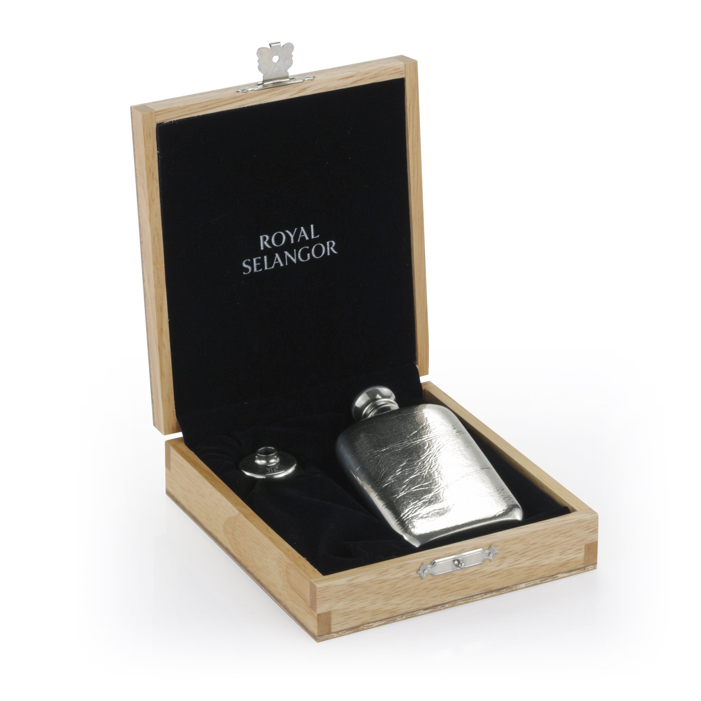 Royal Selangor Hand-Finished Hip Flask in Blonde Wooden Gift Box 95 ml