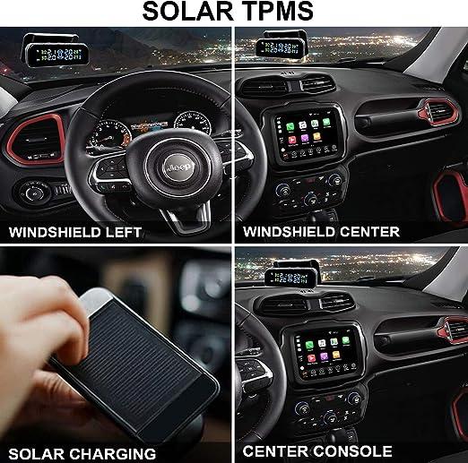 Spurtar Solar Reifendruckkontrollsystem Auto Rdks Tpms Reifendruck Kontrollsystem Reifendruckmesser Mit Externen Sensoren Echtzeit Alarmsystem Für Auto Suv Kfz Auto