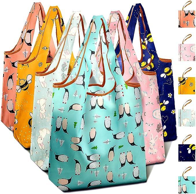 超能承重,环保可重复使用时尚购物袋6个