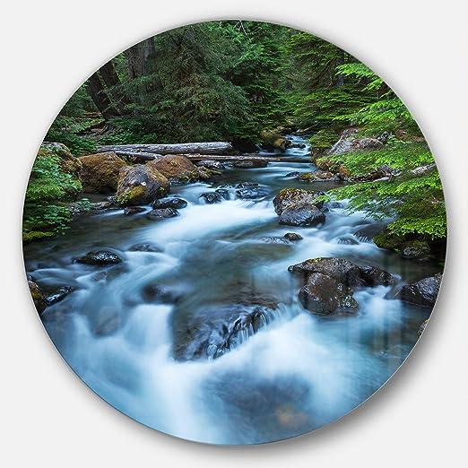 Designart Rushing Water in Forest Creek Landscape Round Metal Wall Art Disc of 23 23 H x 23 W x 1 D 1P Green Design Art MT12313-C23