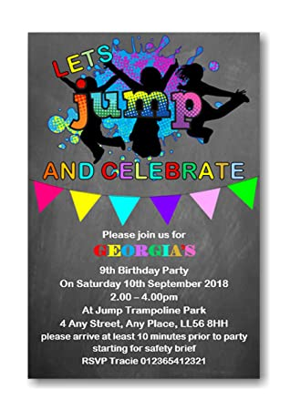 Personalised Trampoline Birthday Party Invitations Invites Boy or