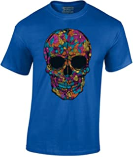 0096b123bf9 Men s Black Flower Sugar Skull T-Shirt Day of The Dead Shirt