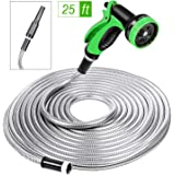 SPECILITE Heavy Duty 304 Stainless Steel Garden Hose 25ft, Outdoor Metal Water Hoses with Nozzle & 10 Pattern Spray Nozzle fo