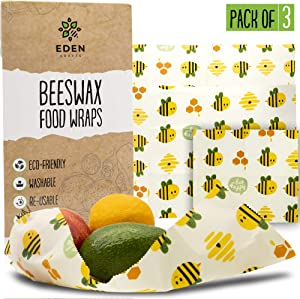 Beeswax Food Wrap Set | 3- Pack Reusable Bees Wax Cover Paper Wraps for Food Storage | Eco Friendly, Sustainable, Plastic Free Beeswrap Set| Small, Medium & Large Bee Wrap for Home & Outdoors