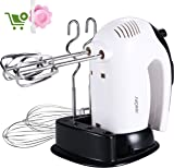 Hand Mixer, 300W Electric Hand Whisk SURPEER Professional,5 Speed Cake Mixer, Kitchen Food Mixers Hand Held for Baking,6 Accessories of 304 Stainless Steel - Dough Hooks,Balloon Whisker,Beaters,White