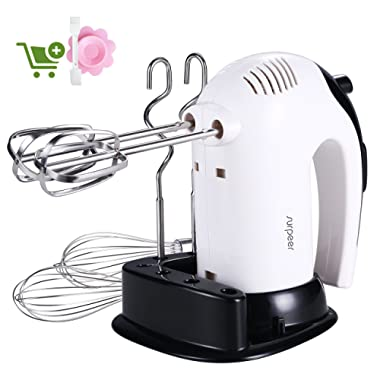 Hand Mixer Electric White 300W,SURPEER Hand Beater, Storage Base, 5 Speed Whisk Mixers Kitchen Hand Held,6 Attachments of 304 Stainless Steel-2 Wired Beaters,2 Whisks and 2 Dough Hooks.