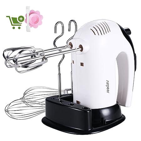 Batidora Varillas Electrica,SURPEER 300W Hand Mixer con Base,5 ...