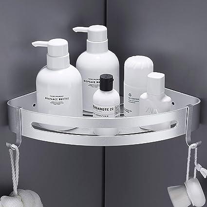 Hoomtaook Accesorios Baño Sin Taladro Estantería de Esquina para Baño Ducha, Pegamento Patentado + Autoadhesivo, Aluminio, Acabado Mate, Estantes 1 ...