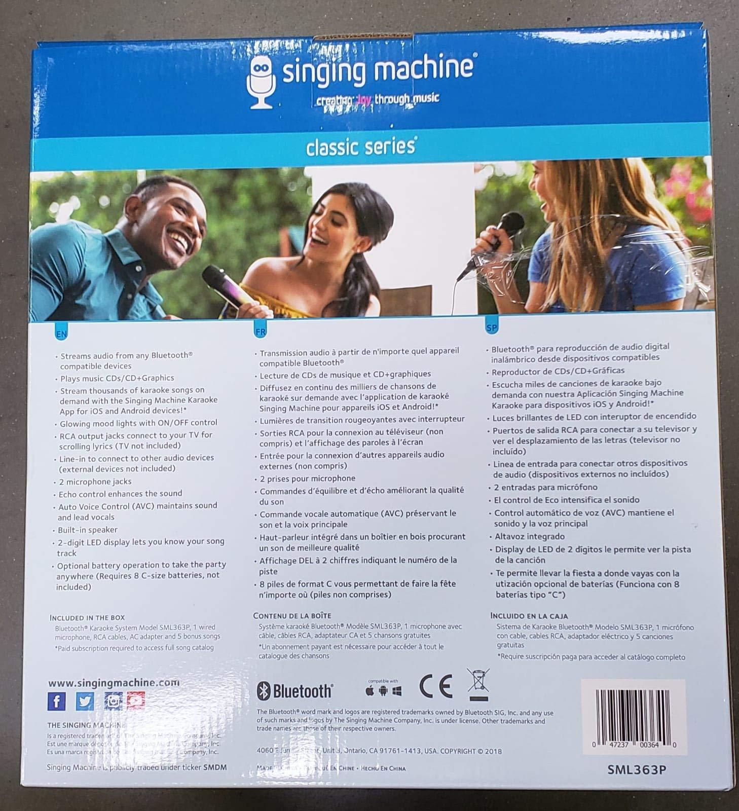 Singing Machine - Classic Series - SML363P (Pink) Bluetooth Karaoke System
