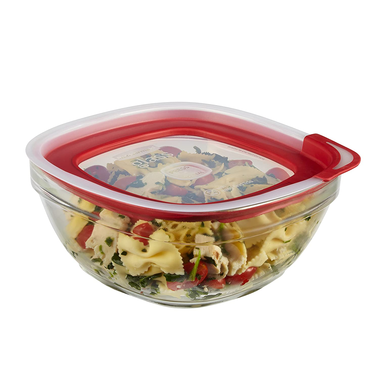 Rubbermaid Easy Find Lids Glass Food Storage Container, 8 Cup, Racer Red 2856006