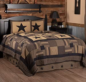 VHC Brands Primitive Bedding Check Cotton Pre-Washed Appliqued Star Sham Twin Quilt Set, Raven Black