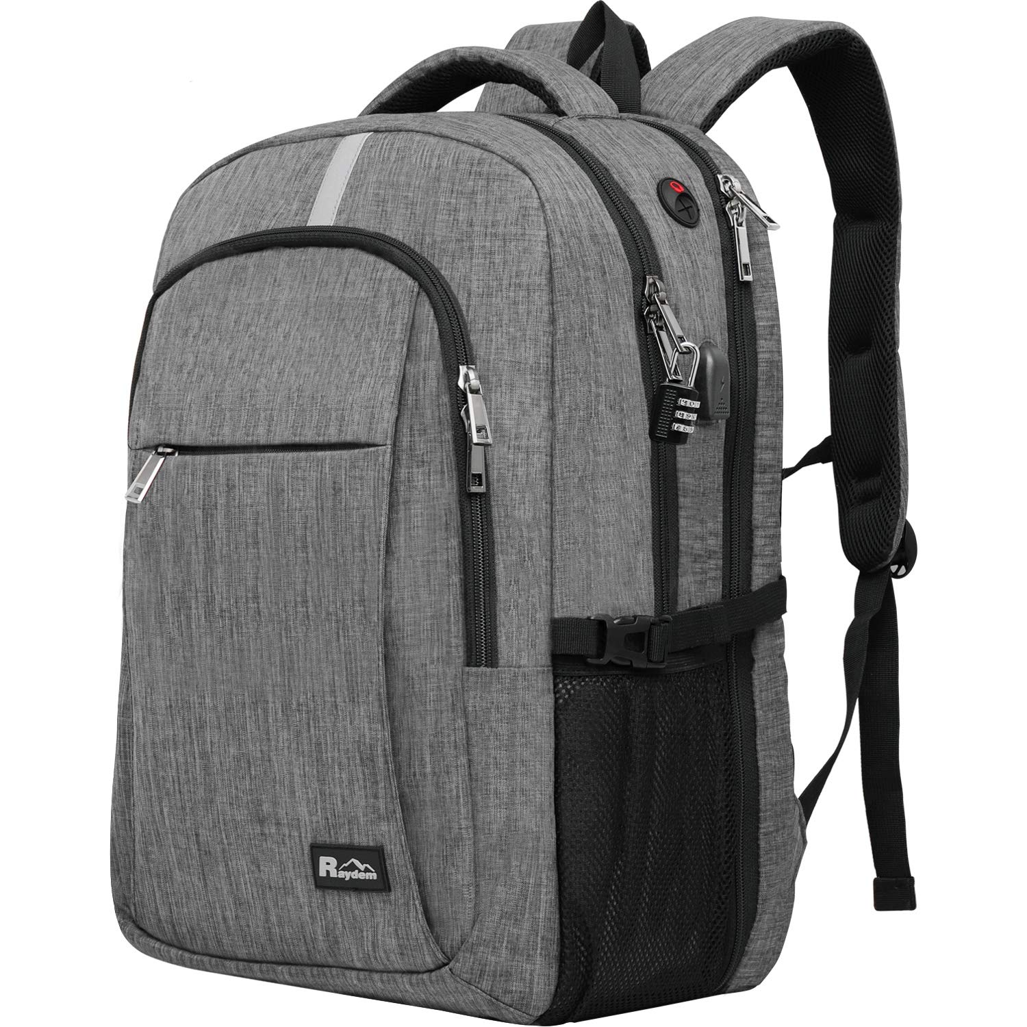 Travel Laptop Backpack with USB Charging Port, Raydem 17.3 Inch Water Resistant School Backpack Business Laptop Bag, TSA Friendly Computer Backpack Anti Theft Carry on Bookbags for Women Men, Grey by Raydem