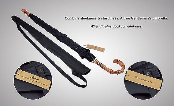 (Diseñado en G. Bretaña) Paraguas bastón Balios® de bambú Whangee, a mano, doble cubierta y marco de fibra de vidrio, antiviento.