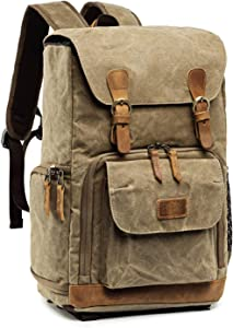 Kattee Camera Backpack Canvas Water-repellent 15 inch Laptop Bag DSLR SLR Backpack for Men Women