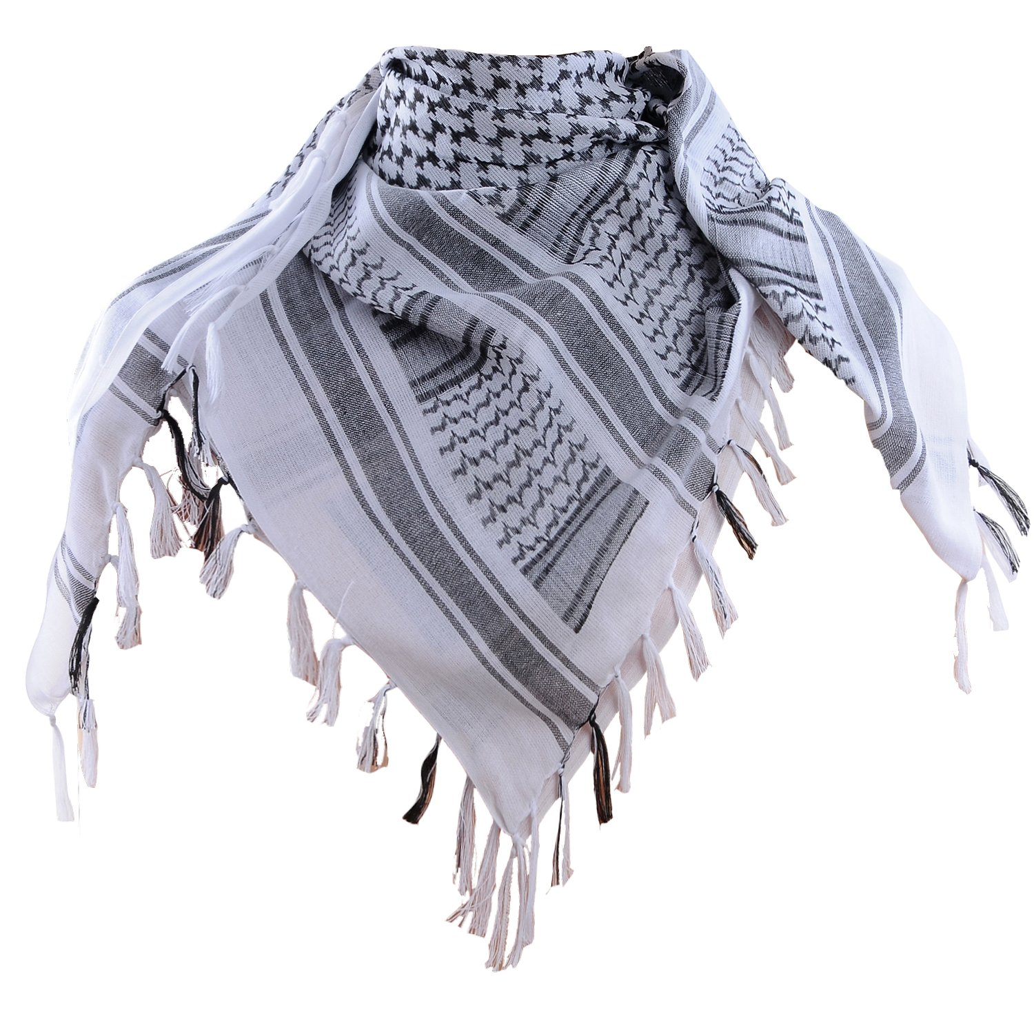 Micoop Premium Military Shemagh Tactical Desert Scarf Wrape (White)