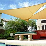 Shade&Beyond 16' x 16' x 16' Sand Color Triangle Sun Shade Sail for Patio UV Block for Outdoor Facility and Activities