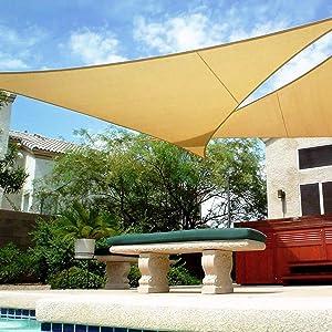 Shade&Beyond Triangle Sun Shade Sail 16' x 16' x 16' Canopy Sand for Patio Garden Yard Deck Pergola