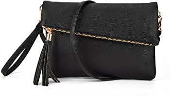 1d4575cbecd3 JIARUO Women Tassel Fold Cover Sling Small Leather Crossbody Bag Handbag  Purse