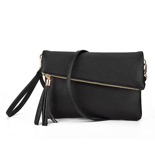 c9ea1b9de717 Jiaruo Girls Tassel Fold Cover Sling Leather Crossbody Bag Handbag Purse  (black)