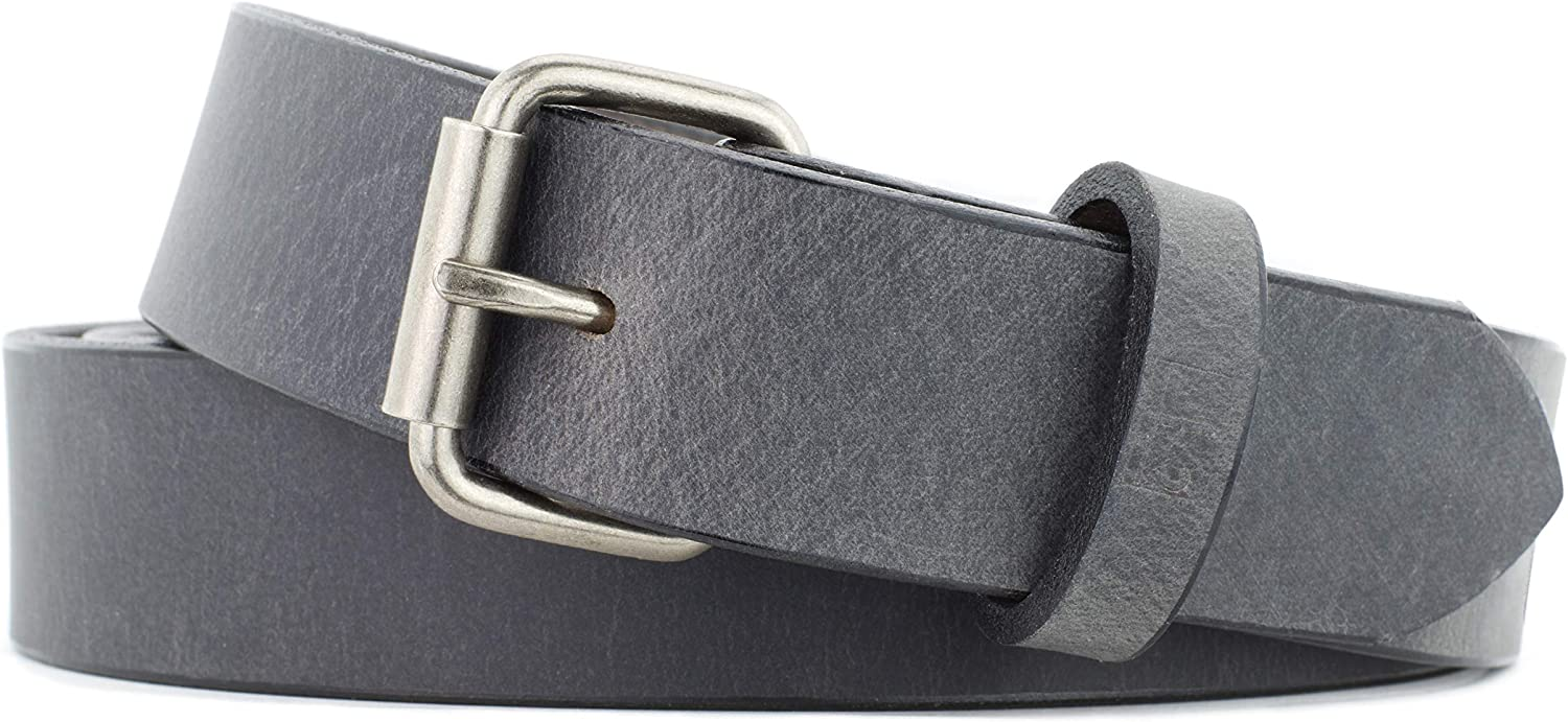 Made in USA 1.5 In Wide Naleeni Mens Gray Leather Belt W Buckle Options