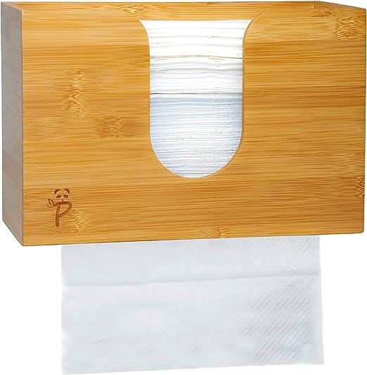 Dispensador de toallas de papel de bambú para cocina y baño, montaje de pared/encimera multipliegue,