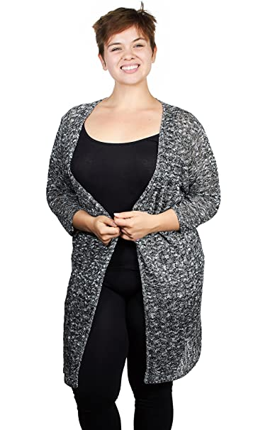 7f5dacfde9 Knit Minded Womens Ladies Marled Pointelle Open Front Long Cardigan Sweater  (See More Colors and Sizes) at Amazon Women s Clothing store