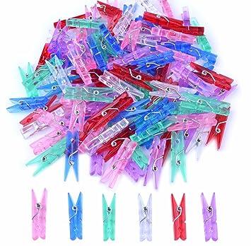 BronaGrand - 100 Pinzas de plástico para Pinzas de Manualidades, para Fotos, Papel, Baby Shower, Colores al Azar (Transparente): Amazon.es: Hogar