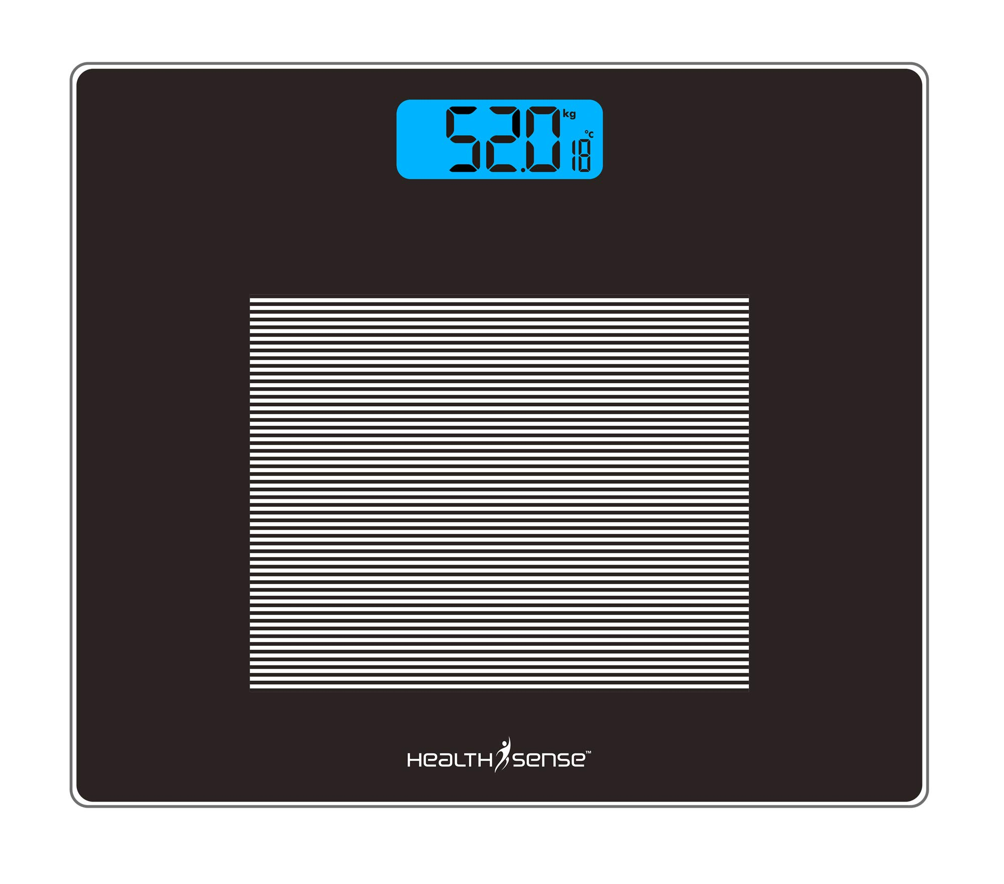 HealthSense Dura-Glass Digital Personal Body Weighing Scale with Temperature and Step-On Technology (Zebra Black) product image