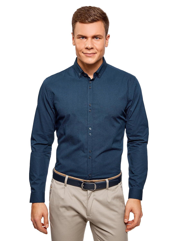 oodji Ultra Herren Baumwoll-Hemd mit Feinem Grafischem Muster RIFICZECH s.r.o. 3L110275M