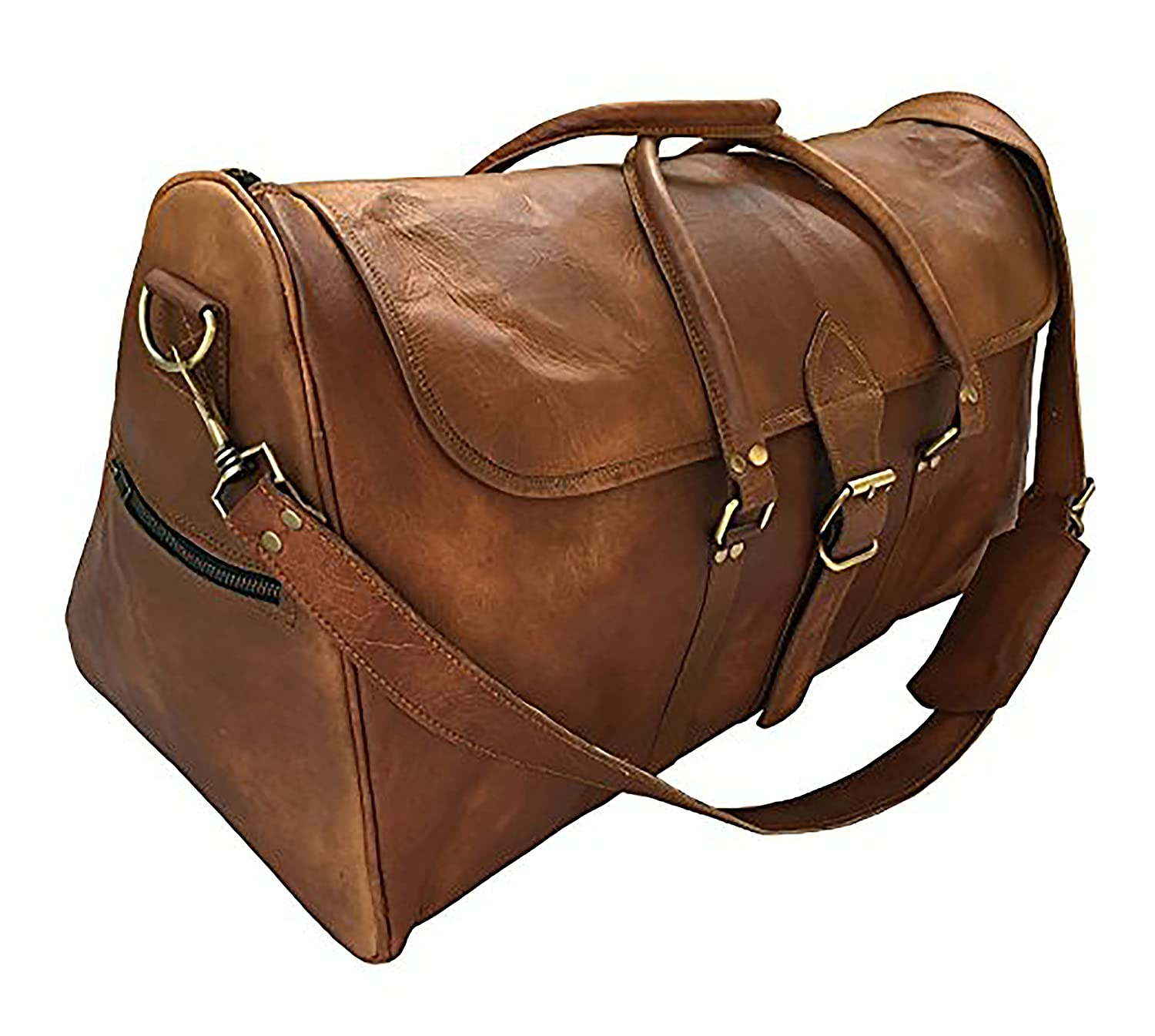 064303226a23 kk's 24 Inch real goat leather vintage genuine leather travel duffel bags  luggage bags gym bags overnight holdall bags for men and women