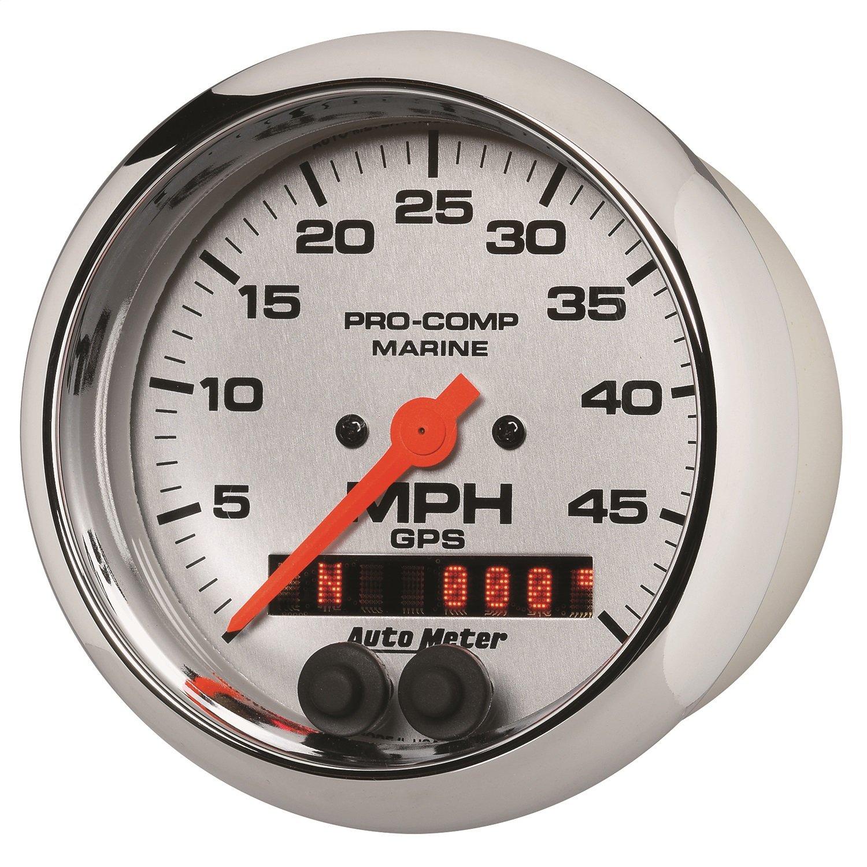 Speedometer 3 3//8 Auto Meter AutoMeter 200635-35 Ultra-Lite Gauge Marine Chrome GPS 50Mph