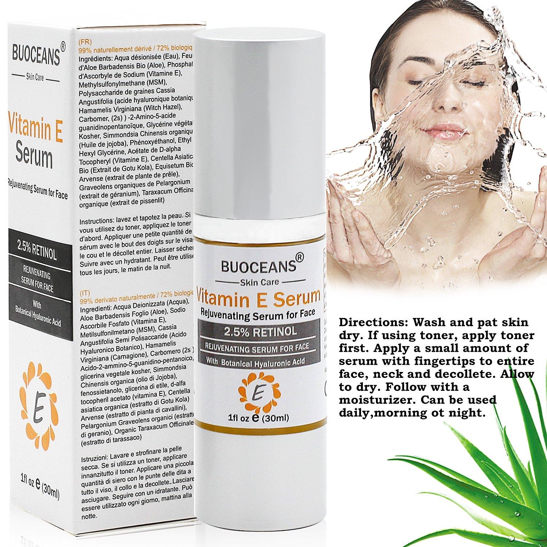 Sérum facial con vitamina E y ácido hialurónico, antiedad, hidratante y antiarrugas, que reduce drásticamente las líneas de expresión y todos los signos de ...
