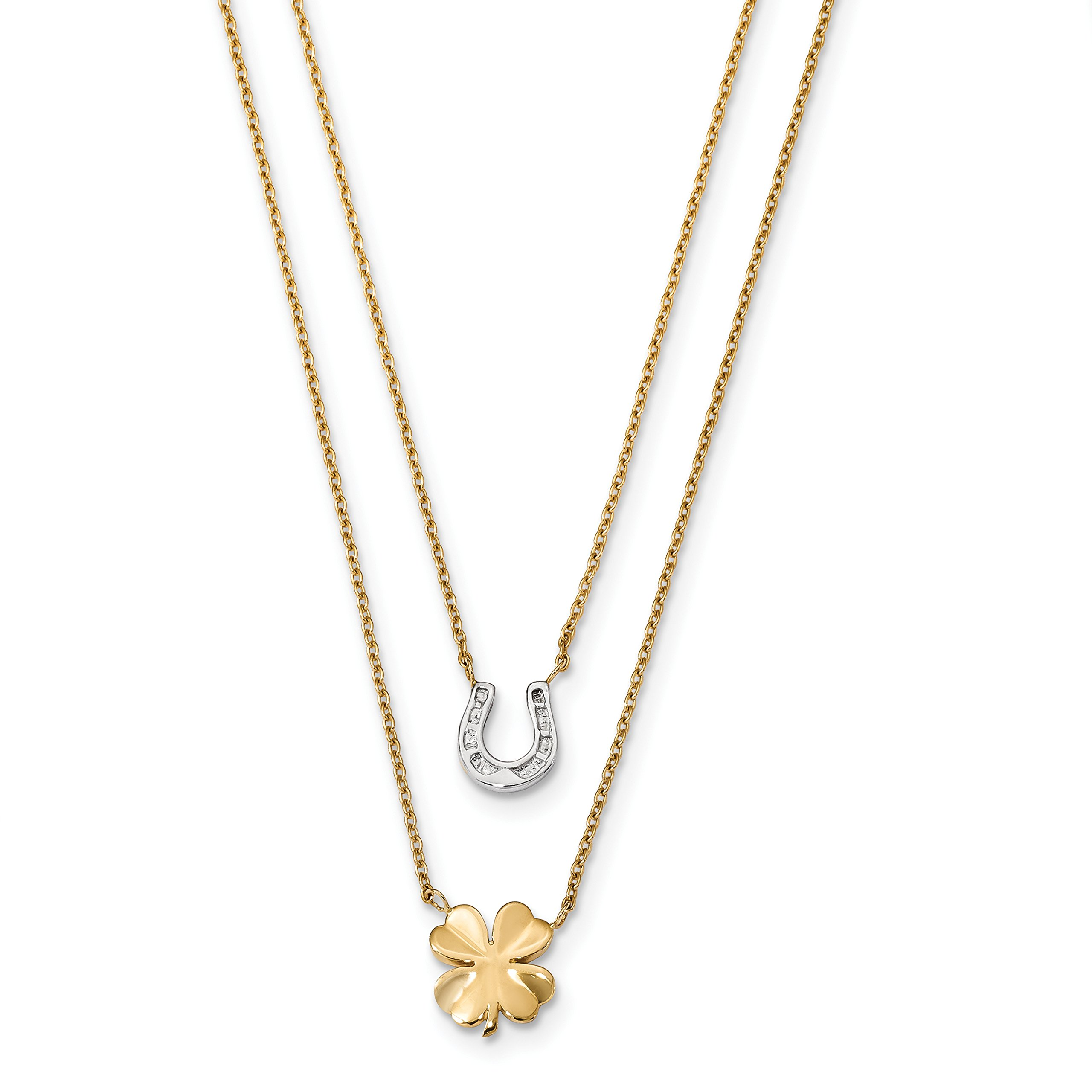 ICE CARATS 14k Two Tone Yellow Gold 2 Strand Clover Horseshoe Chain Necklace Fancy Good Luck/italian Horn Fine Jewelry Gift Set For Women Heart