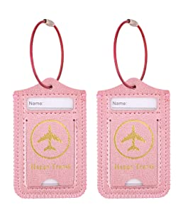WALNEW Luggage Tag- Initial Bag Tag with Stainless Steel Loop Suitcase Label 2 Pieces Set (Rosegold, 2 Piece)