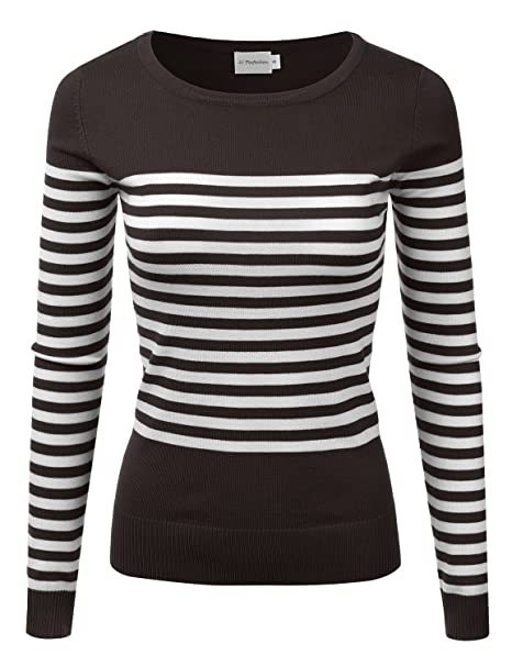 04835a321d JJ Perfection Women s Striped Knit Long Sleeve Round Neck Pullover Sweater  Brown L