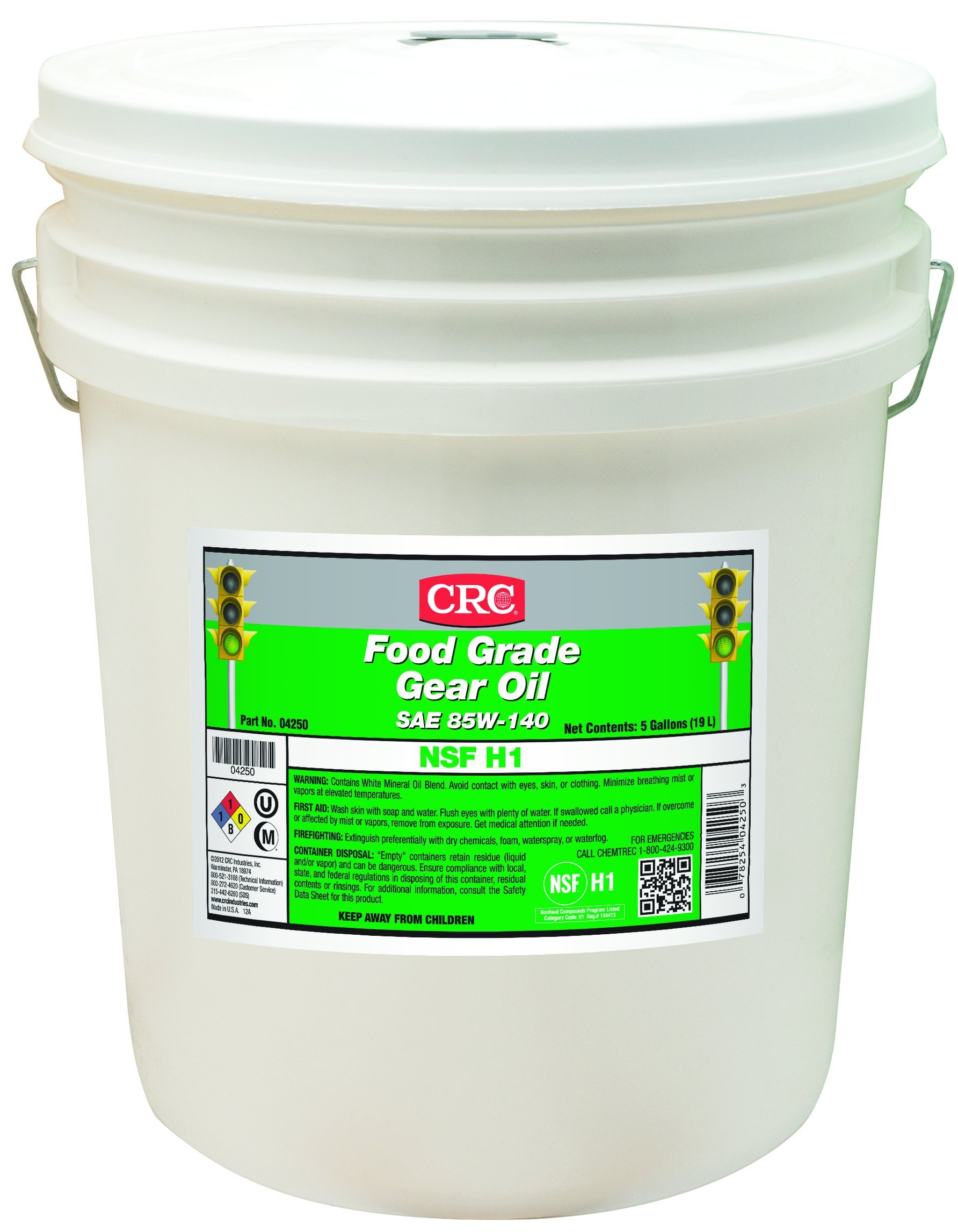 CRC Food Grade Gear Oil, 15 to 375 Degrees Temperature, 5 Gallon Pail, Clear, SAE 85W-140