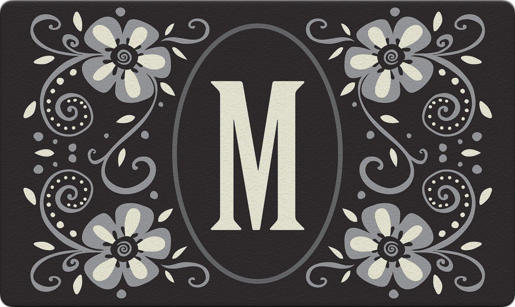 Toland Home Garden Classic Monogram M 18 x 30 Inch Decorative Floor Mat Flower Design Pattern Doormat