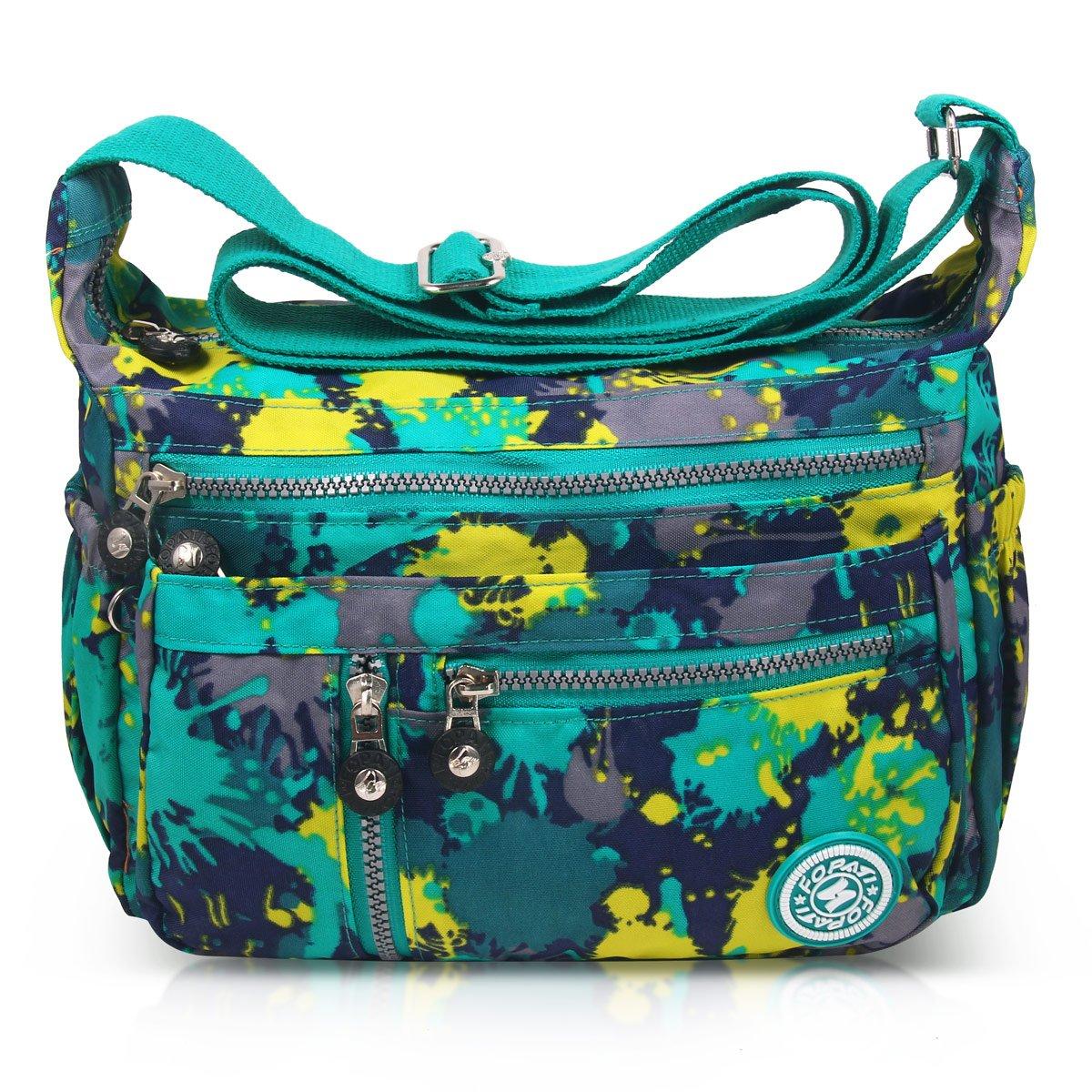 ABLE Mujer Bolsos de Moda Impermeable Mochilas Bolsas de Viaje Bolso Bandolera Sport Messenger Bag Bolsos Baratos Mano para Tablet Escolares Nylon (0-Calla flores)