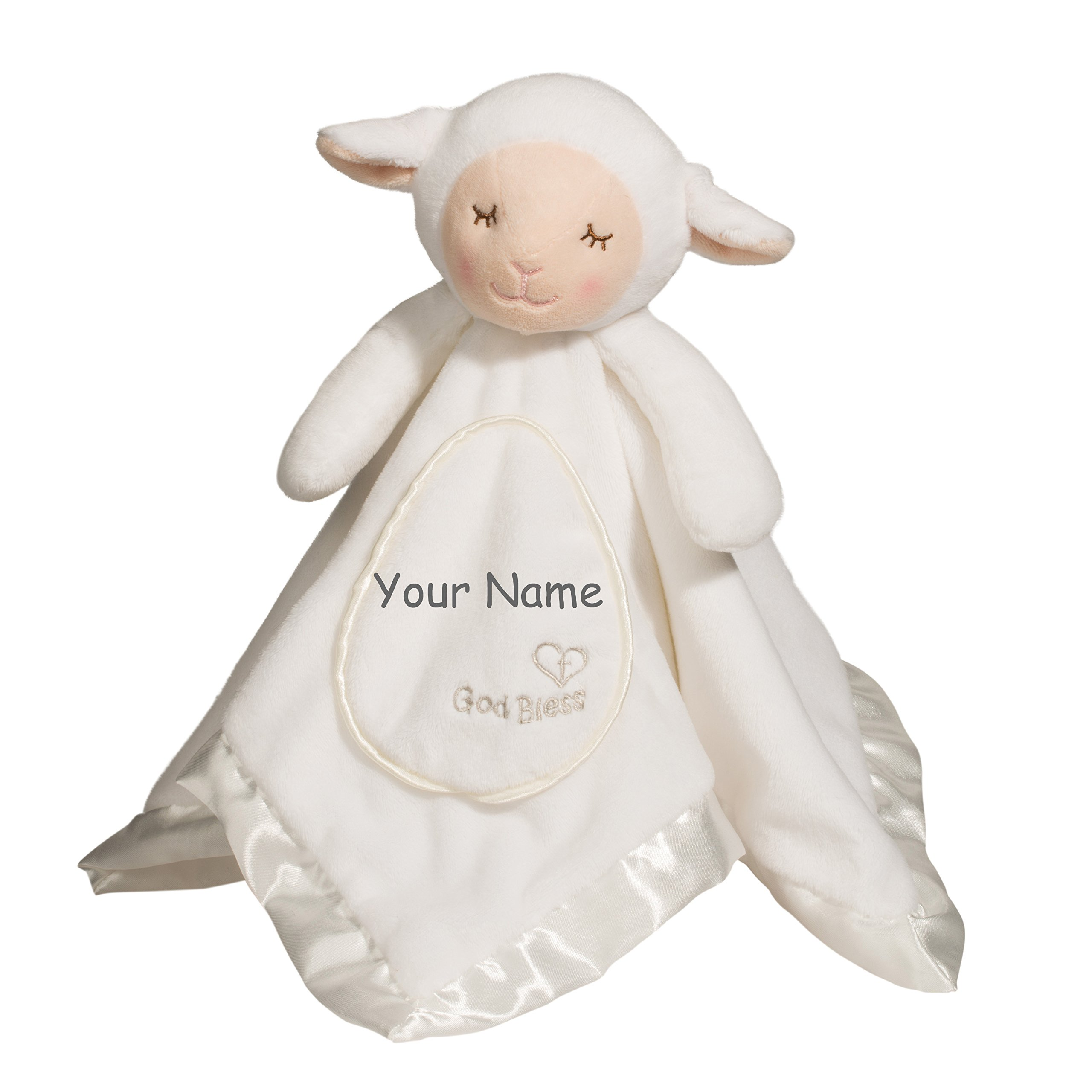 Personalized God Bless White Lamb Lil Snuggler Blanky for Baby Boy or Baby Girl Blanket - 21 Inches