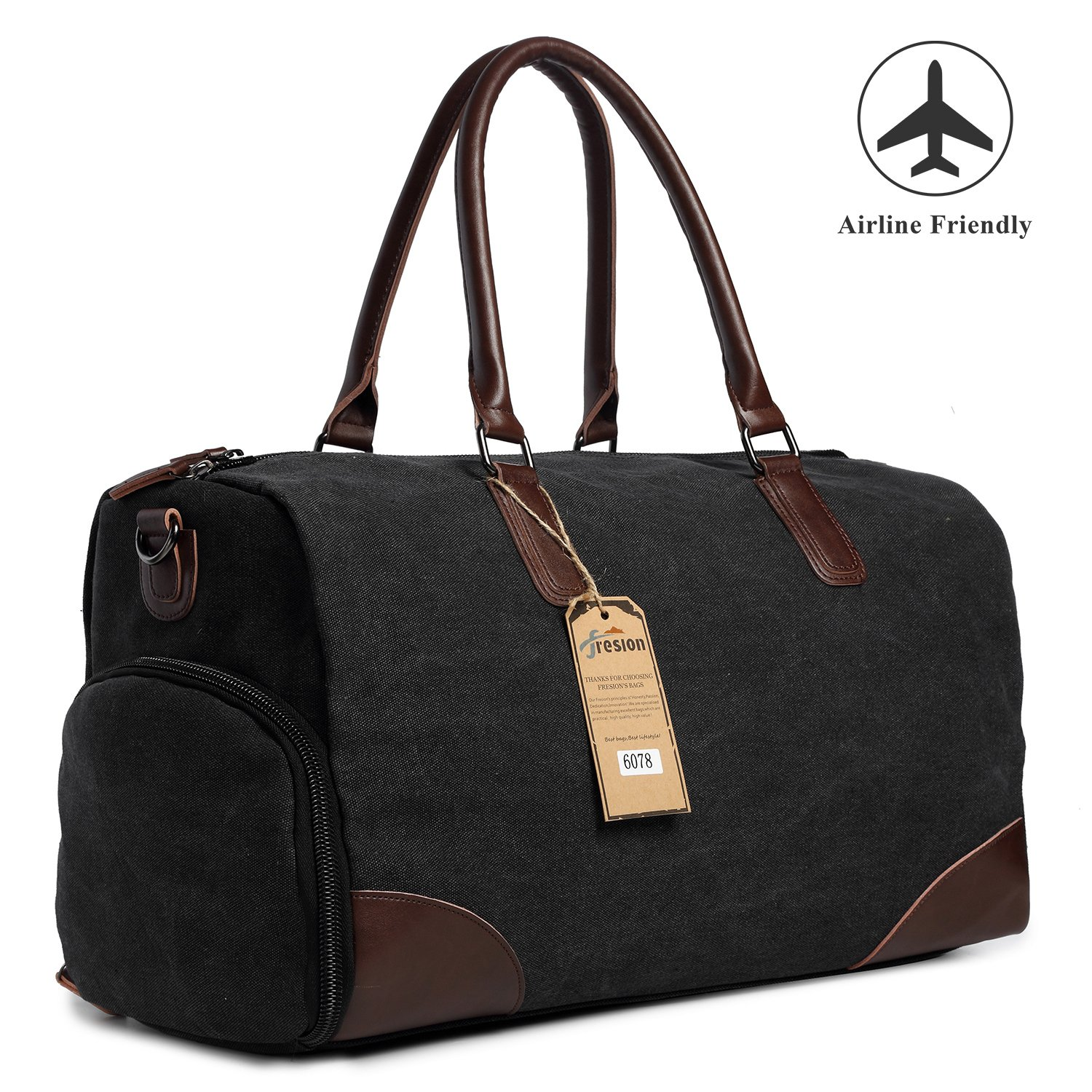 Fresion Canvas Duffel Leather Carry On Bag Weekend Overnight Tote Bag Men Shoe Pouch(Black)