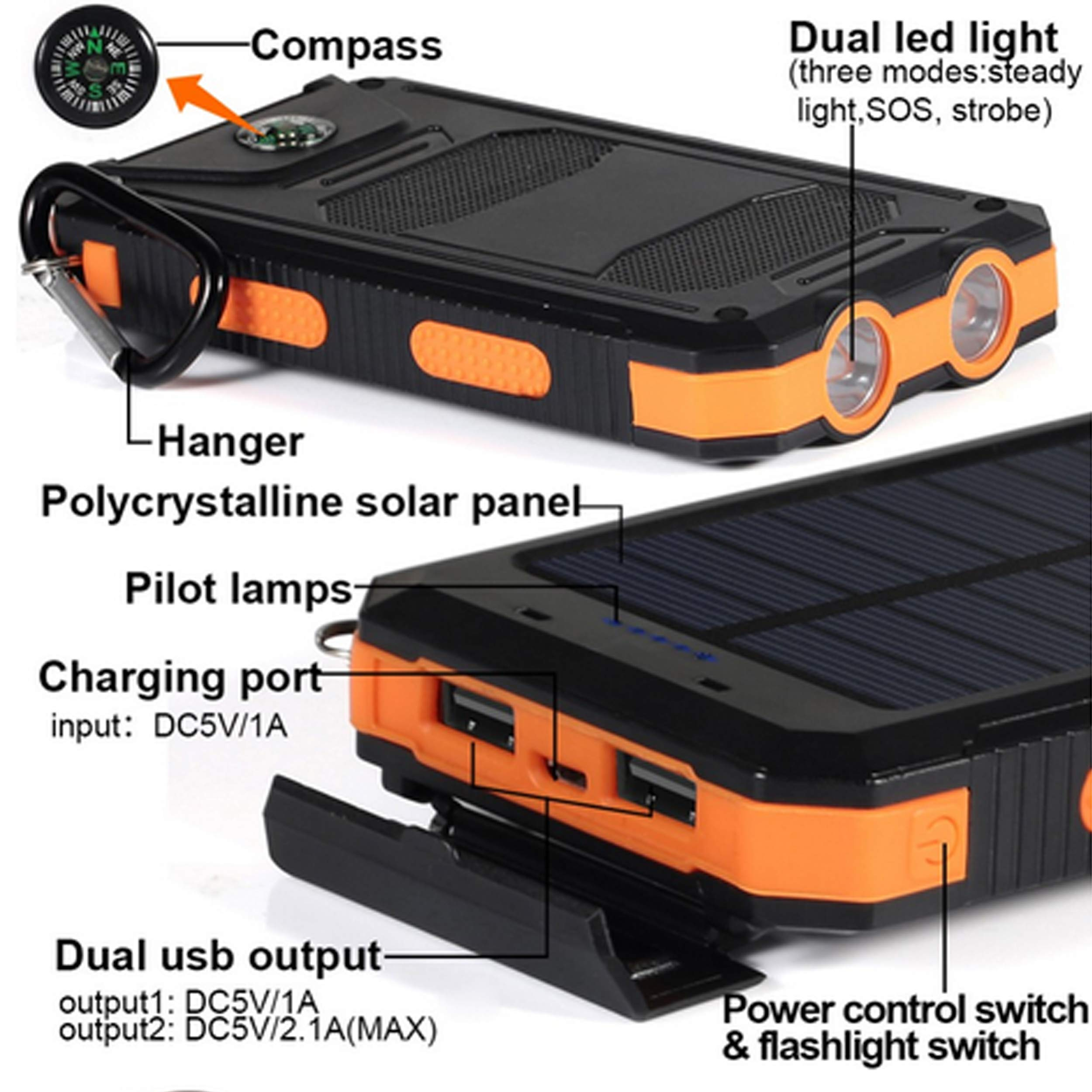 Bysionics Solar Phone Charger,Portable Charger Solar Charger Power Bank 12000mah External Backup Battery Pack Dual USB with 2LED Light Carabiner and Compass for Your Smartphones and More (Orange) by Bysionics (Image #2)