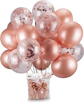 Amazon.com: Globos de oro rosa y globos de confeti de oro ...