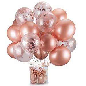 Rose Gold Balloons & Rose Gold Confetti Balloons 24 Pack -18 inch Premium Latex Balloons & 64ft Ribbon - Rose Gold Party Decorations, Bridal Shower, Baby Shower, Weddings, Bachelorette, Birthday Party
