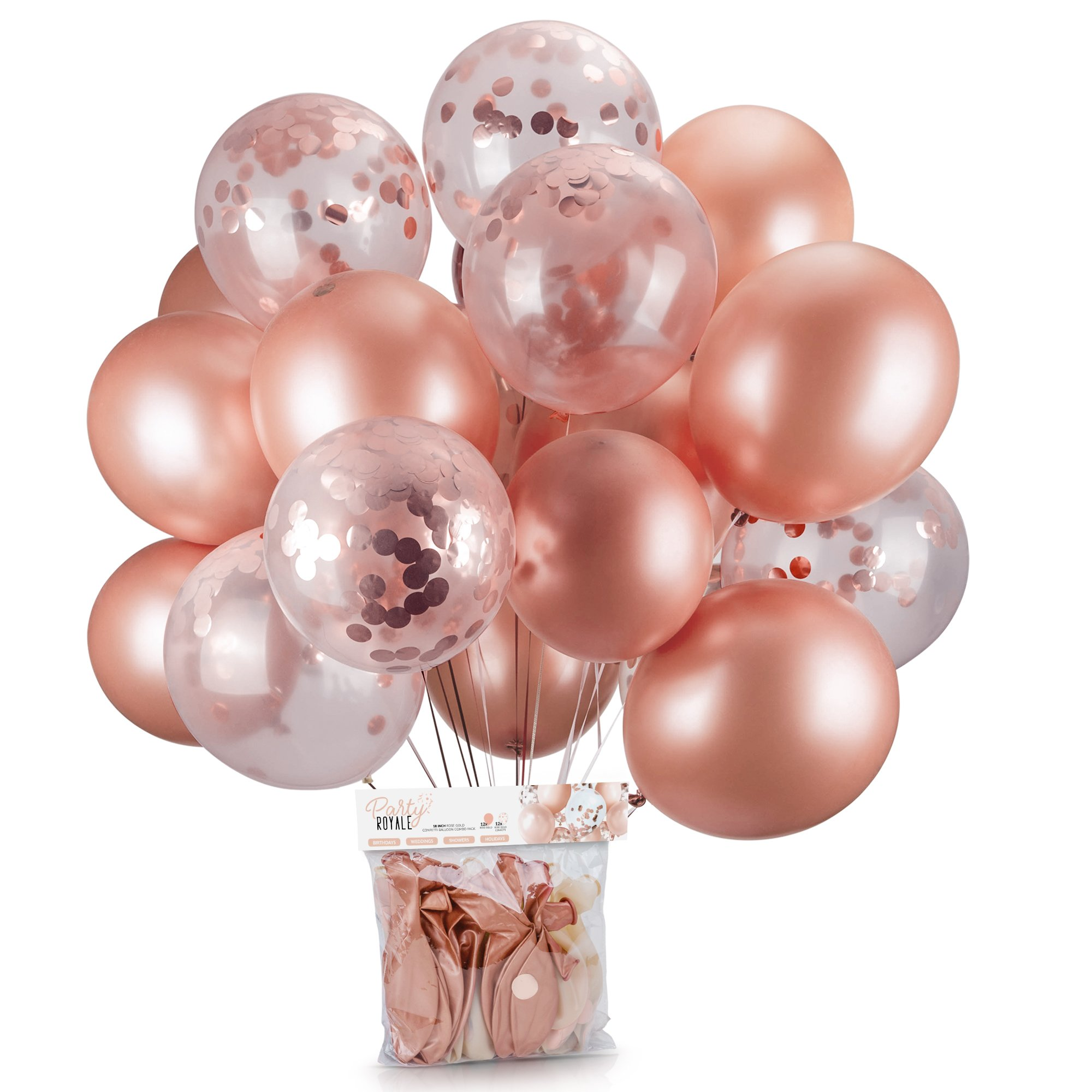 Rose Gold Confetti Balloons Pack of 24 | 18 Inch Pre-Filled Latex Metallic Balloons Great for Rose Gold Party Decorations, Bridal Shower Balloons, Birthday Party, Wedding, Engagement Party, Prom