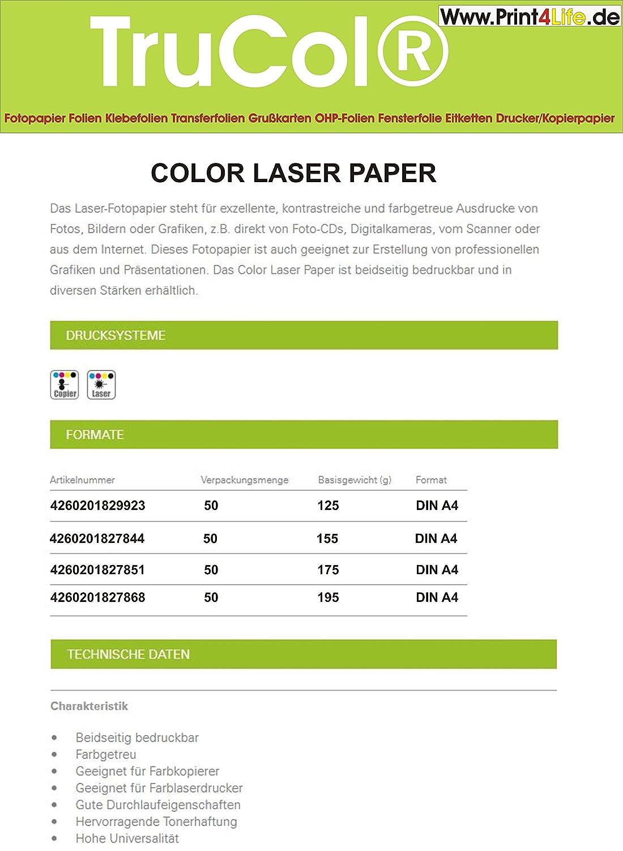 50 hojas de 130g / m² láser color A4. Papel brillante, de doble cara de impresión de fotos para las impresoras láser color y - copiadora. El papel ...