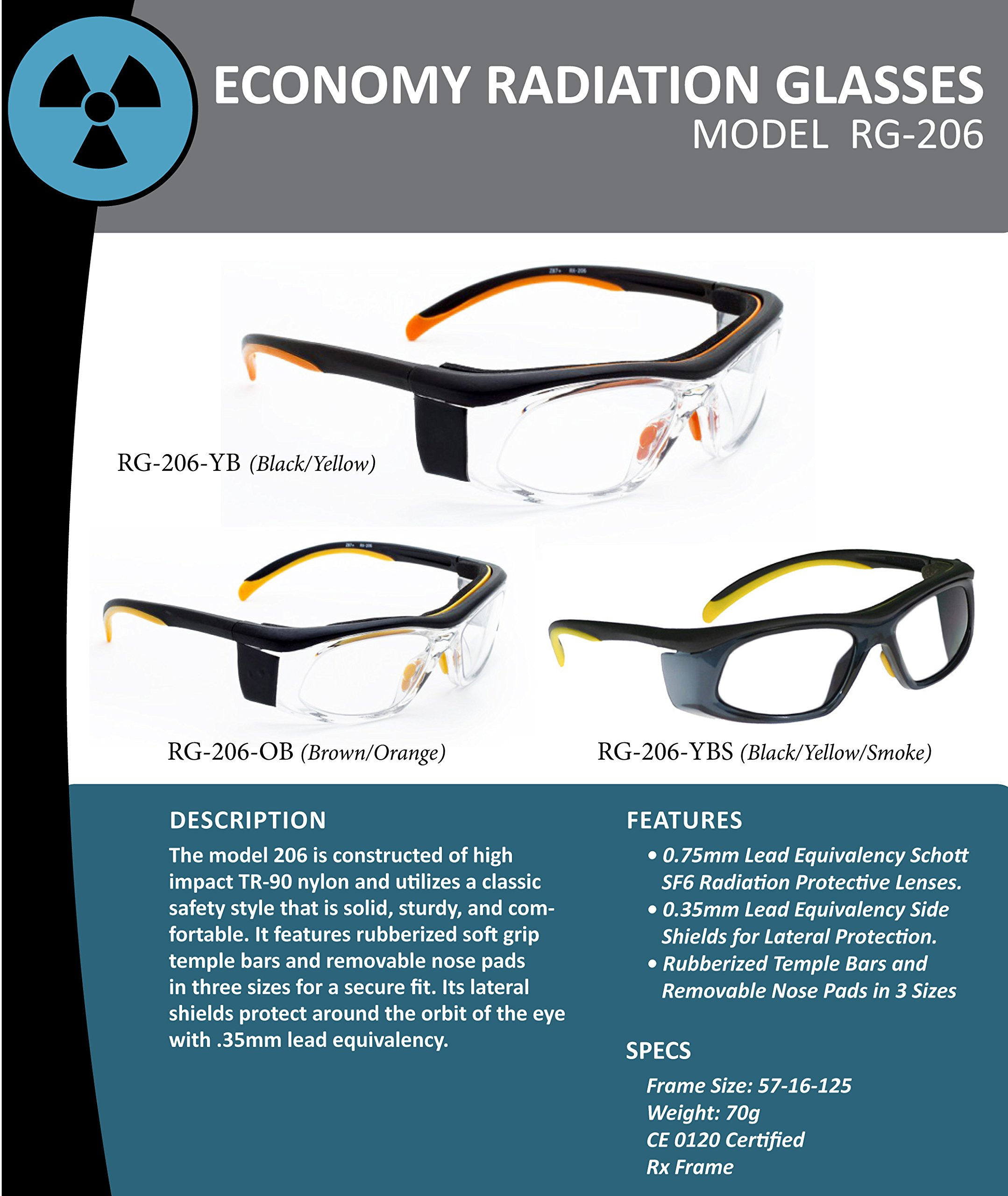 X-ray Radiation Protective Eyewear in Plastic Safety Frame - Orange/brown Color - Which Offers Excellent Protection, Large Viewing Area, Adjustable Temple Bar and Built-in Side Shields. by Schott SF-6 HT