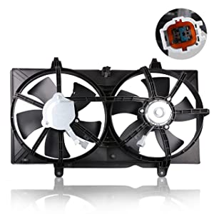 MOSTPLUS Front Condenser Radiator Cooling Fan w/Motor for 02-06 Nissan Altima 04-08 Maxima 2.5L 3.5L