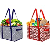 Earthwise Deluxe Collapsible Reusable Shopping Box Grocery Bag Set with Reinforced Bottom (Set of 2)