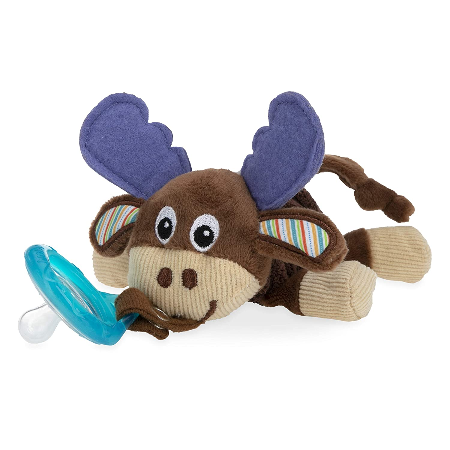 Nuby Calming Natural Flex Snuggleez Pacifier with Plush Combo Set for Cuddling with Comfort, 0M+, Moose