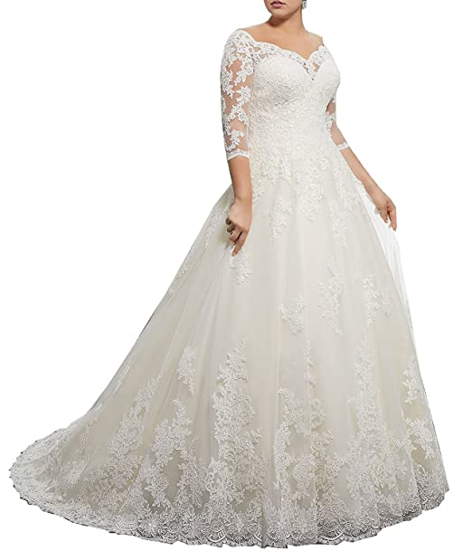 DMDRS Dreamdress Women\'s V-Neck Lace Sheer Plus Size Train Wedding Dresses